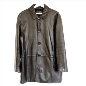 Banana Republic 4 Button Leather Overcoat